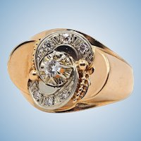 18K solid gold ring with old European cut diamonds Stamped 8 prongs cathedral set diamond Retro heavy fine jewelry