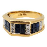 18K solid gold ring with invisibly set square cut sapphires and round cut diamonds Hallmarked