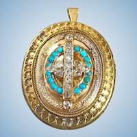 Victorian era extra large 18K solid gold stamped medallion brooch/pendant with diamond and turquoise
