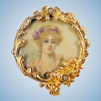 Rare Georgian portrait in 18K solid gold Hand painted brooch Stamped fine antique