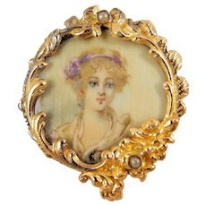 Rare Georgian portrait in 18K solid gold Hand painted on paper brooch Stamped fine antique