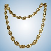18K solid gold necklace Fancy links Stamped Retro French fine gold chain