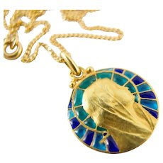 18K solid gold plique à jour enamel medal Stamped Dated and monogrammed