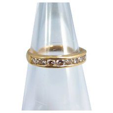 18K solid gold band with 8 brilliant cut diamonds Stamped fine gold French jewelry