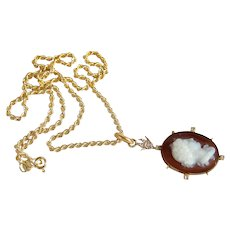Antique hardstone cameo 18K solid gold 800 Silver with diamonds Stamped solid gold Twisted rope chain
