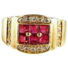 Stamped 18K solid gold ring with natural rubies and diamonds Square cut rubies Resizeable pinky ring