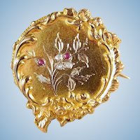 Antique Napoléon era 18K solid gold brooch with rose cut diamonds and red paste Stamped Victorian jewelry