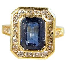 18K Solid gold ring Natural sapphire and brilliant cut diamonds Stamped French fine gold jewelry