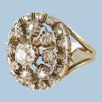 Georgian era antique ring in 18K solid gold and 800 silver Stamped Fine keepsake
