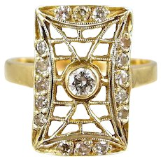 Fancy diamond ring in 18K solid gold Stamped lattice open work face Fine gold jewelry