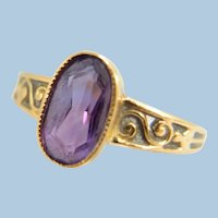 Charming 18K solid gold ring with a natural fine amethyst Art Nouveau era Stamped jewelry
