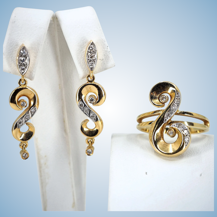 9893fbd23163e Mid Century stamped 18K solid gold jewelry set enhanced with natural  diamonds
