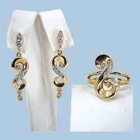 Mid Century stamped 18K solid gold jewelry set enhanced with natural diamonds