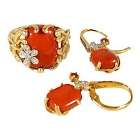 Massive 18K solid gold red jasper claw ring and earrings set Natural garnet and diamonds