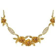 Exquisite 18K solid gold genuine antique necklace Stamped Victorian era fancy necklace