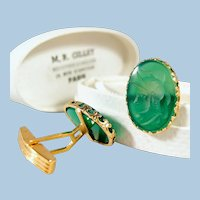 18K solid gold cuff links  with chrysoprase intaglio Stamped fine gold jewelry French provenance