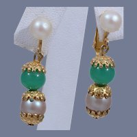 Super Cute Celebrity Faux Pearl and Jade Dangle Earrings