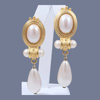 Etruscan Styled Schiaparelli Faux Pearl Dangle Earrings
