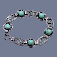Peking Glass Art Deco Sterling Silver Bracelet