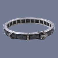 Art Deco Diamonbar Sterling Buckle Bangle Bracelet