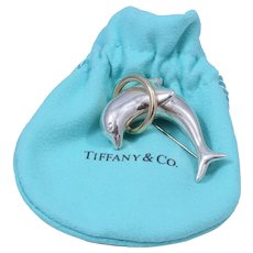 Vintage Tiffany & Co. Sterling Silver and 18K Gold Dolphin Pin/Brooch