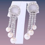 Bridal Vintage Ciner Dangling Faux Pearl Rhinestone Earrings