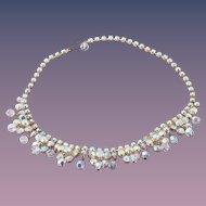 Bridal Vintage Aurora Borealis Bead and Crystal Necklace