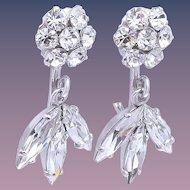 Sherman Vintage Floral Crystal Drop Bridal Earrings
