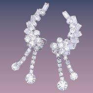 Vintage Bridal Climber Dangle/Drop  Crystal Earrings