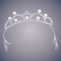 Rare 1950s Weiss Designer Faux Pearl and Crystal Bridal Tiara