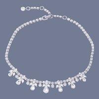 Vintage Sherman Bridal/Holiday Clear Crystal Diamante Necklace