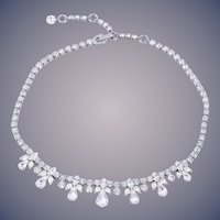 Vintage Sherman Bridal/Holiday Clear Crystal Diamante Necklace