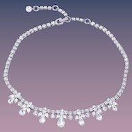 Vintage Sherman Bridal Clear Crystal Diamante Necklace