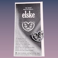 Georg Jensen Sterling Heart Pin # 242B with 1964 Print Ad Included