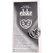 Georg Jensen Sterling Silver Made in Denmark Heart Pin # 242B with 1964 Print Ad