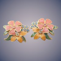 Joan Rivers PIERCED Enamel Flower Earrings