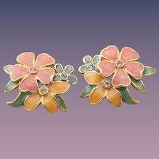 Joan Rivers PIERCED Enamel Flower Earrings