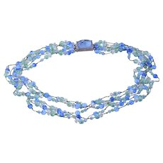 Givenchy Layered Multi-Strand Beaded Glass Crystal Necklace