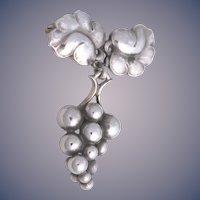 """Georg Jensen Sterling """"Moonlight Grapes"""" Pin/Brooch No. 217A Made in Denmark"""