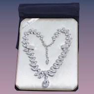 Extremely Rare Crown Trifari Diamante Necklace in Original Pouch and Box