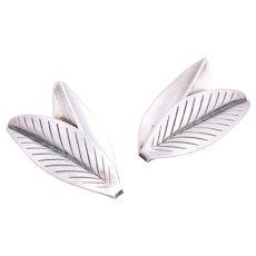 Anton Michelsen Sterling Silver Double Leaves Earrings Designed by Gertrude Engel