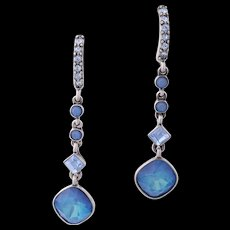 Vintage GIVENCHY PIERCED Blue Moonstone Crystal Drop Earrings