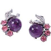 Signed Schiaparelli Amethyst Purple  Cabochon and Pink Rhinestone Clip-On Earrings