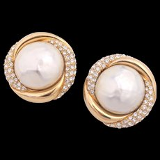 Signed CINER Simulated Baroque Pearl Rhinestone Gold-Plated Earrings
