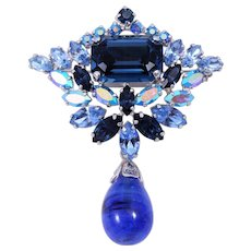 RARE Sherman Book Piece Sapphire Blue Dangle Rhinestone Brooch