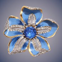 RARE 1940s Coro Corocraft Sterling Silver Blue Enamel and Sapphire Blue Rhinestone Flower Pin/Brooch