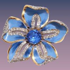 RARE 1940s Coro Corocraft Sterling Silver Blue Enamel and Sapphire Blue Rhinestone Flower Pin/Brooch