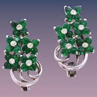 1940s Pennino Sterling Silver Emerald Green Rhinestone Floral Clip-On Earrings