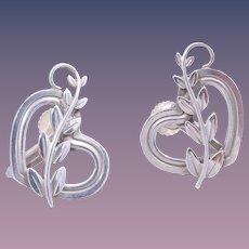 1960s Georg Jensen Sterling Silver Heart Vine Earrings Design Design No. 115