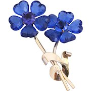CORO Gold-Plated Sterling Silver Sapphire Blue Lucite Flowers Brooch